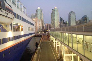 The MV Explorer docked in San Diego