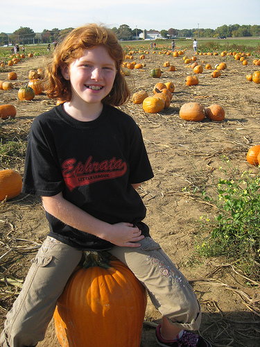 Carly poops a pumpkin at Shady Brook Farms.