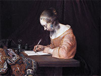 """Woman Writing a Letter"" by Gerard ter Borch"