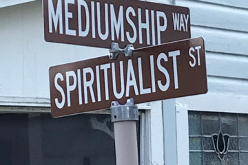 The intersection of Mediumship Avenue and Spiritualist Street in Cassadaga, Florida